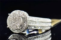 Diamond Halo Engagement Ring 10k White Gold Round Cut Pave 1.45 Ct
