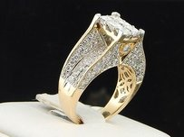 Diamond Engagement Ring 14k Yellow Gold Princess Round Cut 3.00 Ct