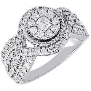 Diamond Wedding Ring 14k White Gold Solitaire Round Engagement Infinity 1.14 Tcw