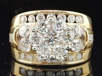Ladies 3 Ct. Yellow Gold Flower Round Cut Diamond Engagement Ring Wedding Band