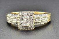 Princess Cut Diamond Engagement Ring 14k Yellow Gold Round Channel Set 0.54 Ct