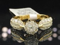 Diamond Engagement Ring Ladies Flower 14k Yellow Gold Wedding Bridal 1.05 Ct.