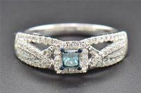 Blue Diamond Engagement Ring Princess Round Cut Ladies 14k White Gold 12 Ct