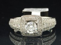 Solitaire Diamond Engagement Ring 14k White Gold Round Cut Square Center 1 Ct