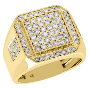 10k Yellow Gold Genuine Diamond Pinky Ring Mens Square Tier Octagon Band 1.50 Ct