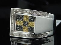 Black Yellow Diamond Pinky Ring Mens .925 Sterling Silver Round Pave 0.55 Ct
