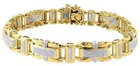 Diamond,Statement,Bracelet,Mens,10k,Yellow,Gold,9,Inch,Pave,Link,Round,Cut,1,Ct.