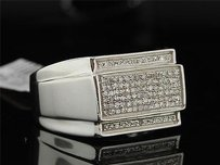 Diamond Pinky Ring Mens .925 Sterling Silver Round Pave Design 13 Tcw.