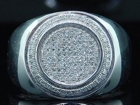 Diamond Statement Pinky Ring .925 Sterling Silver Pave 0.35 Ct. Circle Shape