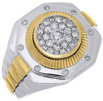 Diamond,Octagon,Fashion,Pinky,Ring,Mens,10k,Two,Tone,Gold,Fluted,Bezel,0.83,Ctw.