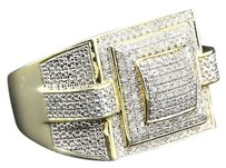 Diamond,Pinky,Ring,Mens,Round,Pave,.925,Sterling,Silver,Yellow,Finish,0.60,Ct.