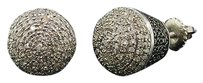 Black,White,Diamond,Earrings,Mens,925,Sterling,Silver,Round,Domed,Studs,0.6,Ct