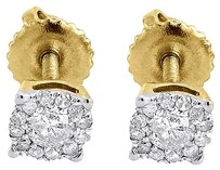 Diamond,Solitaire,Earrings,10k,Yellow,Gold,Mens,Ladies,Cluster,Studs,0.24,Ct.