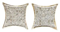 Diamond,Studs,Kite,Shape,Pave,Earrings,Sterling,Silver,Yellow,Gold,Finish,15,Ct