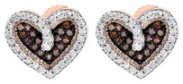 Red,Diamond,Heart,Stud,Earrings,10k,Rose,Gold,Round,Cut,Ladies,0.20,Ct.