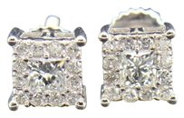 Diamond,Studs,Mens,Ladies,10k,White,Gold,Princess,Cut,Solitaire,Earrings,.48,Ct