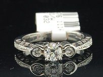 3 Stone Diamond Engagement Ring 14k White Gold Round Cut Bezel Set 0.57 Ct
