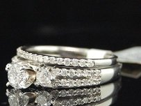 Diamond 3 Stone Engagement Ring 14k White Gold Round Solitaire Bridal Set 1 Tcw.