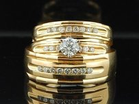 14k Mens Ladies Yellow Gold Diamond Engagement Ring Wedding Band Trio Bridal Set