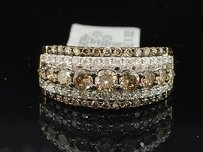 Brown Diamond Wedding Band Cocktail Fashion Ring 10k Yellow Gold 1.59 Ct