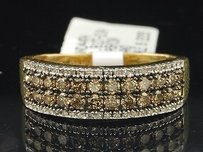 Ladies 14k Yellow Gold Brown Diamond Engagement Ring Wedding Band Set 0.81 Ct.