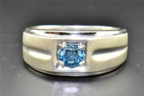 Blue Solitaire Diamond Wedding Band White Gold Finish Round Cut Ring 0.50 Ct