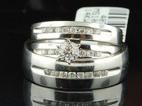 14k Mens Ladies White Gold Diamond Engagement Ring Wedding Band Trio Bridal Set
