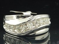 Mens 14k White Gold Round Channel Set Diamond Ring Engagement Wedding Band .99ct