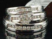 Diamond Wedding Trio Set 14k White Gold Round Engagement Ring Matching Band
