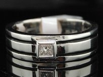 Diamond Solitaire Wedding Band Mens 10k White Gold Princess Cut Ring 0.15 Tcw.