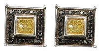 Yellow Black Diamond Square Earrings .925 Sterling Silver Studs 0.27 Ct.
