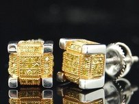 Other Yellow Diamond 3d Square Studs Mens 10k White Gold Cube Earrings 0.40 Tcw.
