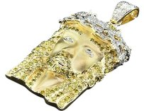 Yellow Diamond Jesus Pendant .925 Sterling Silver Round Cut 1.36 Ct Charm