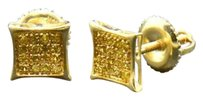 Other Yellow Diamond Studs 10k Yellow Gold 0.10 Ct Pave Kite Shaped Earrings