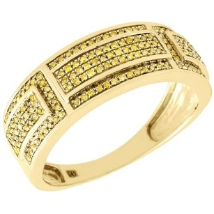 Jewelry For Less Yellow Diamond Wedding Band Mens 10k Gold Round Pave Engagement Ring 0.40 Tcw.