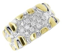 Jewelry Unlimited 10k,Gold,Two,Tone,Mens,Pave,Diamond,Nugget,Fashion,Wedding,Band,Ring,0.25,Ct