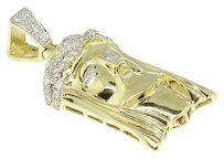 Jewelry Unlimited 10k,Yellow,Gold,Mens,Mini,Jesus,Face,Head,Diamond,Piece,Pendant,Charm,.75,Ct