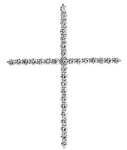 Jewelry Unlimited 10k,White,Gold,Round,Diamond,Shared,Prong,1.6,Inch,Cross,Pendant,Charm,1,Ct