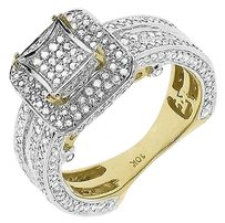 Jewelry Unlimited 10k,Yellow,Gold,Ladies,Round,Pave,Diamond,Kite,3d,Engagement,Wedding,Ring,1.5,Ct