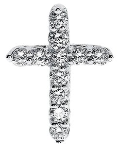 Jewelry Unlimited 14k,White,Gold,Round,Diamond,Prong,20mm,Mini,Tennis,Cross,Pendant,Charm,1,Ct