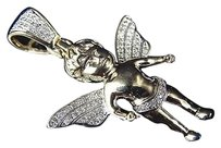 Jewelry Unlimited Rare,10k,Yellow,Gold,Genuine,Diamond,Mini,Icy,Wing,Angel,Pendant,.33ct,1.25