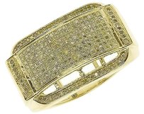 Jewelry Unlimited 10k,Yellow,Gold,Mens,15mm,Pave,Canary,Diamond,Fashion,Concave,Band,Ring,1,Ct
