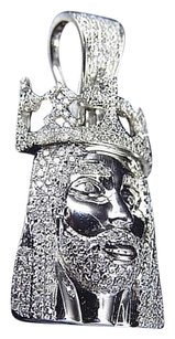 Jewelry Unlimited 10k,White,Gold,Genuine,Diamond,3d,Crowned,Jesus,Piece,Pendant,0.75ct,1.25