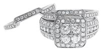 Jewelry Unlimited 14k,White,Gold,Round,Diamond,Cluster,3,Piece,Engagement,Wedding,Ring,Set,1.51,Ct