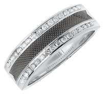 Jewelry Unlimited Mens,14k,White,Gold,Carbon,Fiber,Diamond,Edge,7mm,Wedding,Band,Ring,0.48,Ct