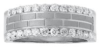 Jewelry Unlimited Mens,14k,White,Gold,Satin,Brick,Pattern,Diamond,Edge,8mm,Wedding,Band,Ring,1,Ct