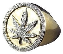 Jewelry Unlimited Rare,10k,Yellow,Gold,Genuine,Diamond,3d,Weed,Leaf,Emblem,420,Style,Ring,.50ct