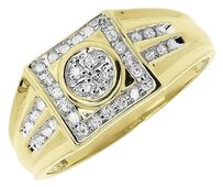 Jewelry Unlimited 10k,Yellow,Gold,Mens,Round,Diamond,Square,Top,Fashion,Wedding,Ring,0.25,Ct