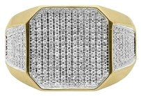 Jewelry Unlimited 10k,Yellow,Gold,Mens,Round,Pave,Diamond,Xl,Octagon,Fashion,Pinky,Band,Ring,1,Ct
