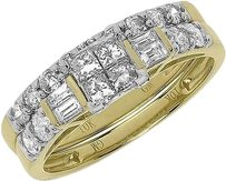 Jewelry Unlimited 10k,Yellow,Gold,Ladies,Princess,Invisible,Diamond,Engagement,Bridal,Ring,Set,1ct